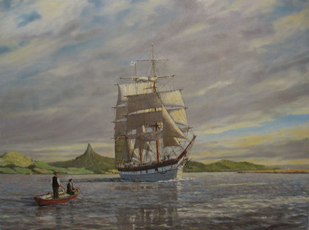 Sailing Ship in the Kaipara Harbour