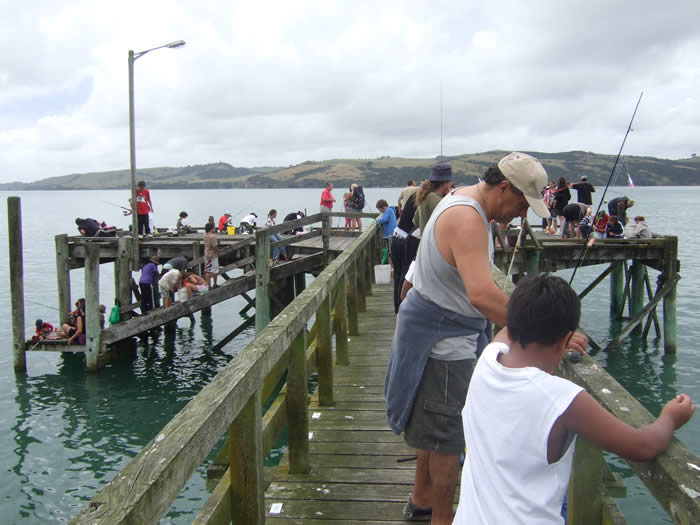 Fishing from the jetty at Tinopai
